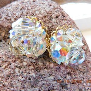 Vintage Marvella Earrings Clip Aurora Borealis